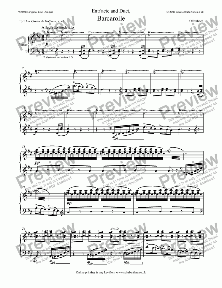 page one of Entr'acte and Barcarolle - Duet [Hoffmann: sop., tenor]