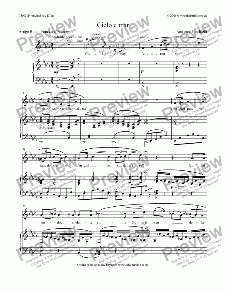 page one of Cielo e mar [La Gioconda: tenor]ASALTTEXT