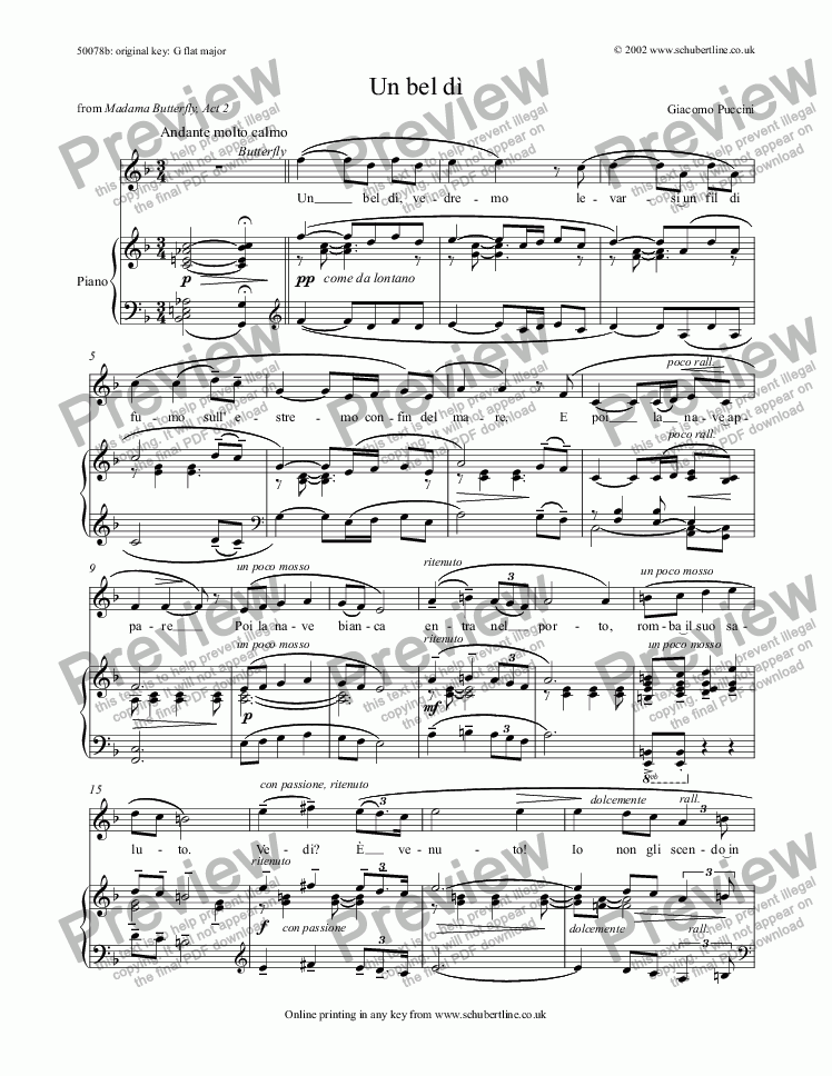 page one of Un bel dì [Madama Butterfly: sop.]