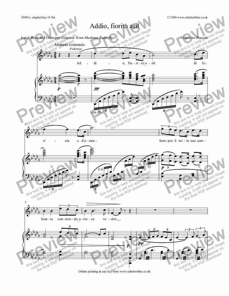 page one of Addio, fiorito asil [Madama Butterfly: tenor]