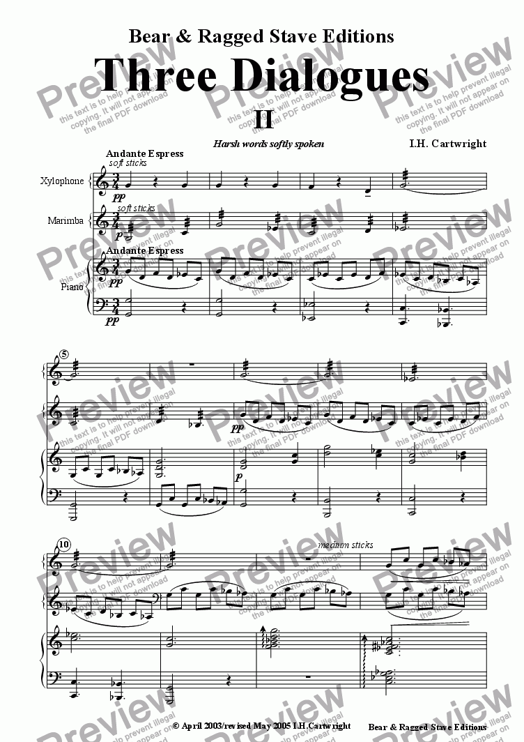Three Dialogues No 2 for Xylophone, Marimba & Piano for Large mixed  ensemble by Ian Cartwright - Sheet Music PDF file to download