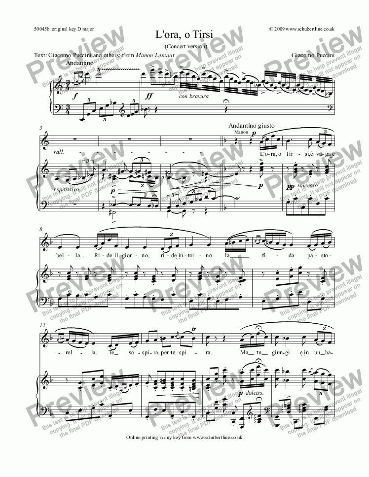 page one of L'ora, o Tirsi [Manon Lescaut: sop.]ASALTTEXT