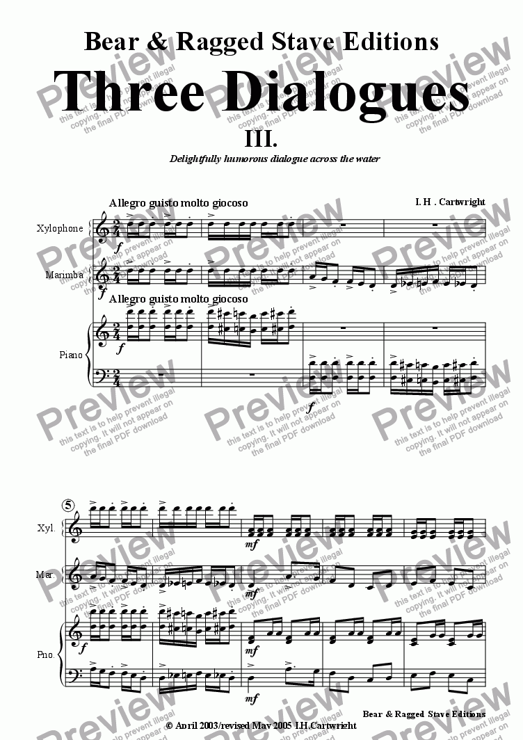 page one of Three Dialogues No. 3 for Xylophone,Marimba & Piano