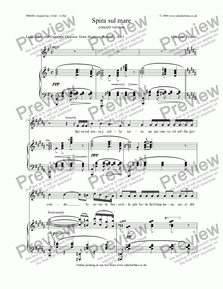 page one of Spira sul mare  (concert version) [Madama Butterfly: sop.]