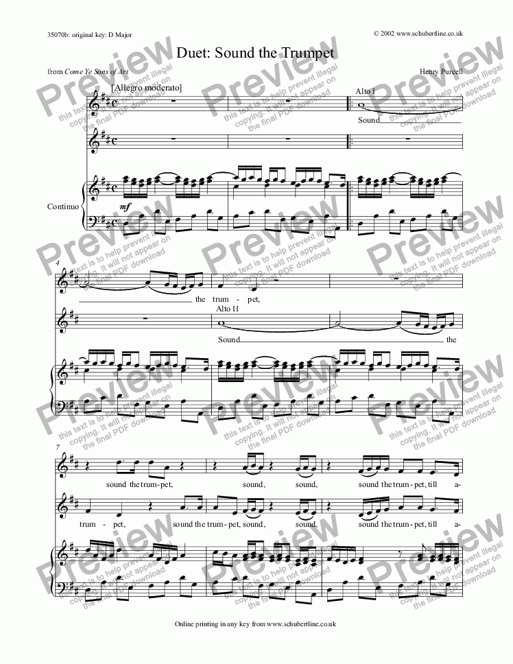 page one of Sound the Trumpet - duet [Come ye sons of Art: alto, alto]