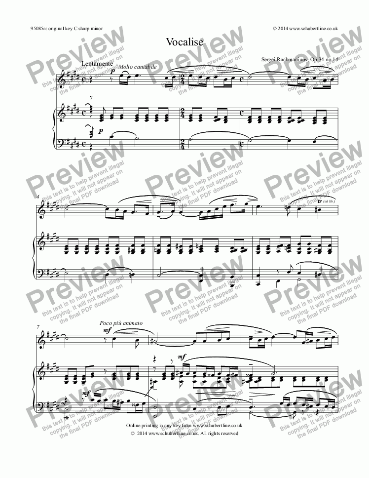 page one of Vocalise