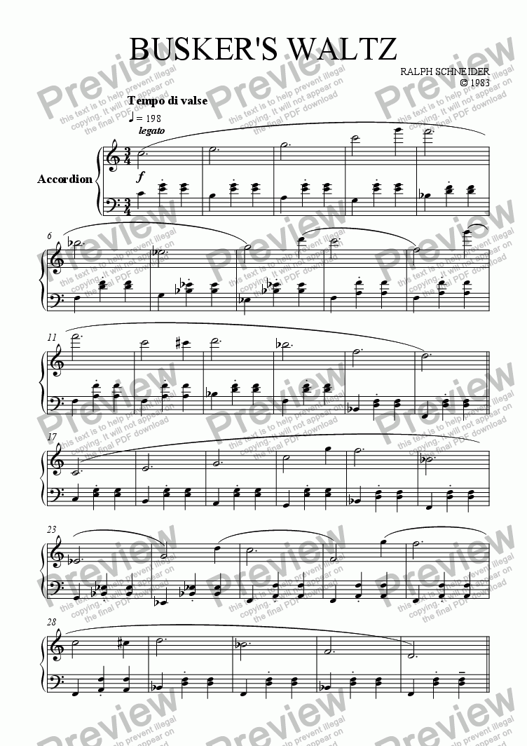 page one of Busker's Waltz