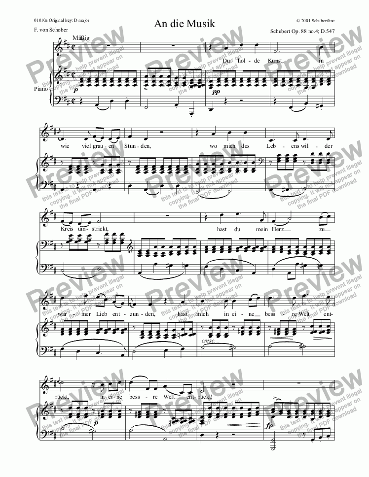 page one of An die Musik D.547