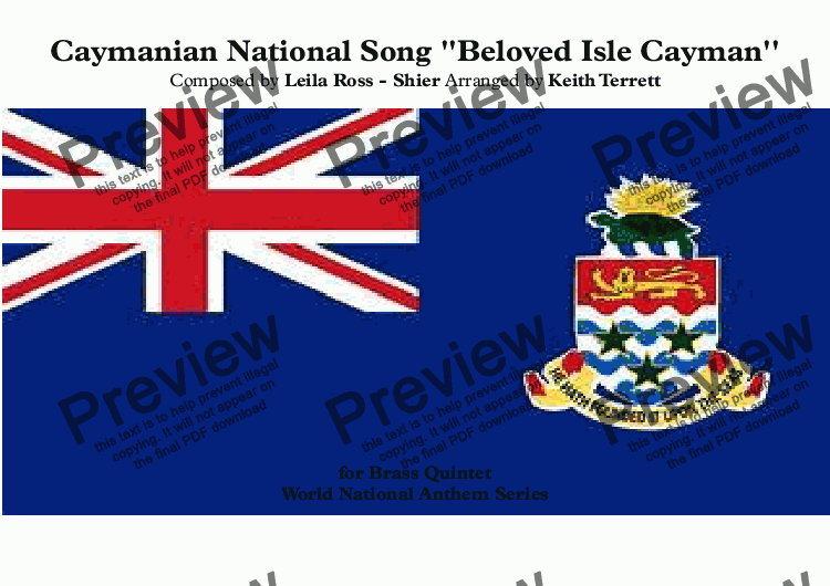 page one of Caymanian National Song ''Beloved Isle Cayman'' for Brass Quintet (World National Anthem Series)