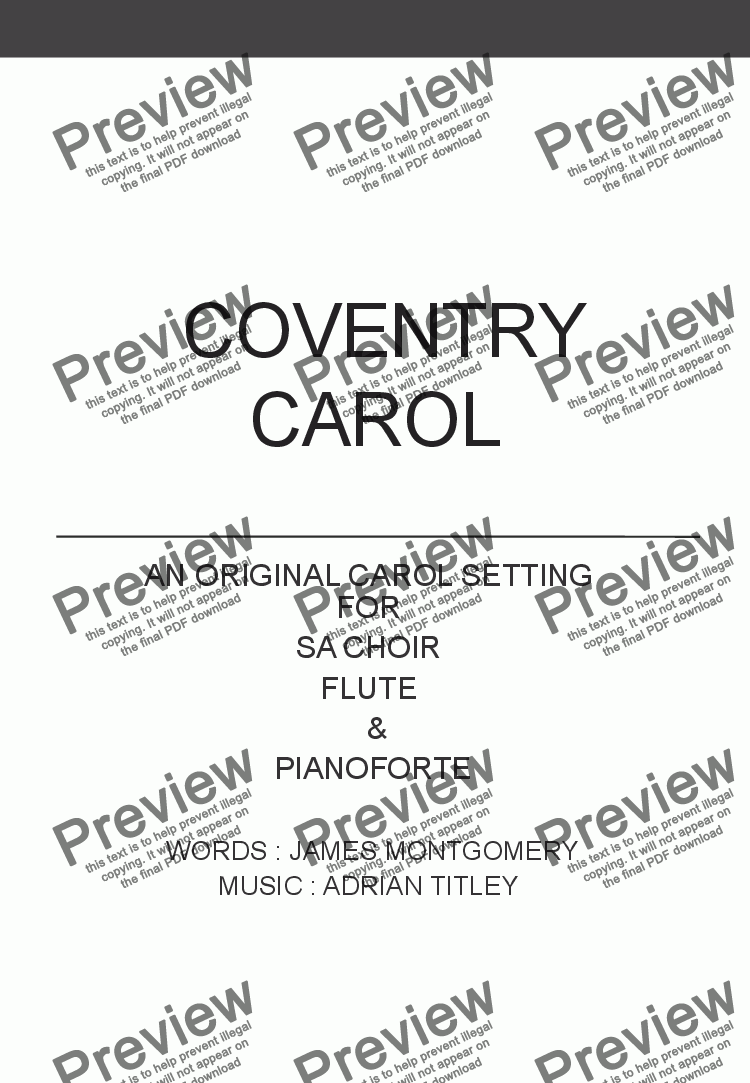 page one of Coventry Carol (SA choir, Flute + piano)