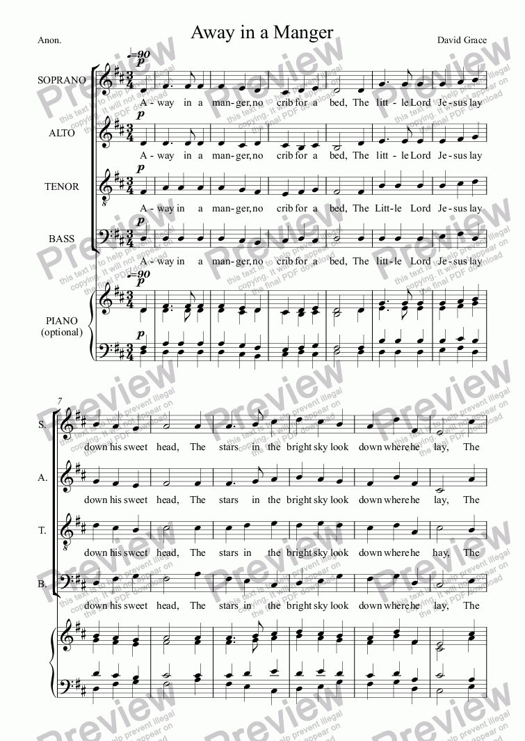 page one of Away in a Manger [SATB]ASALTTEXT