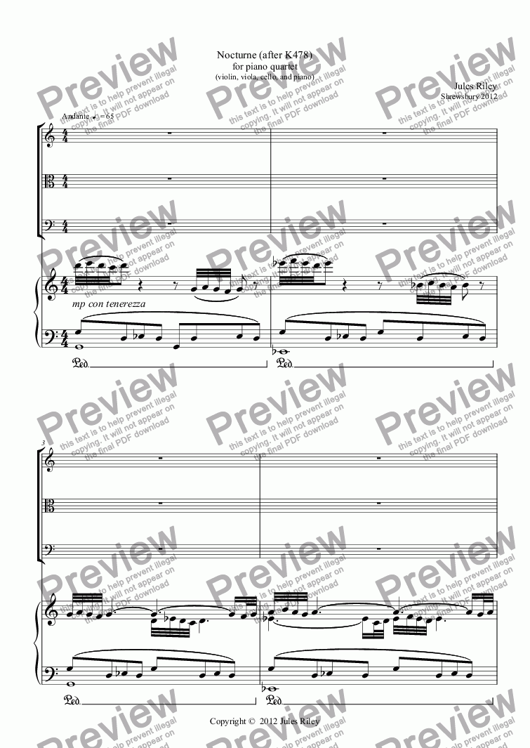 page one of Nocturne (after K478) for piano quartet (violin, viola, cello, and piano) [2012]