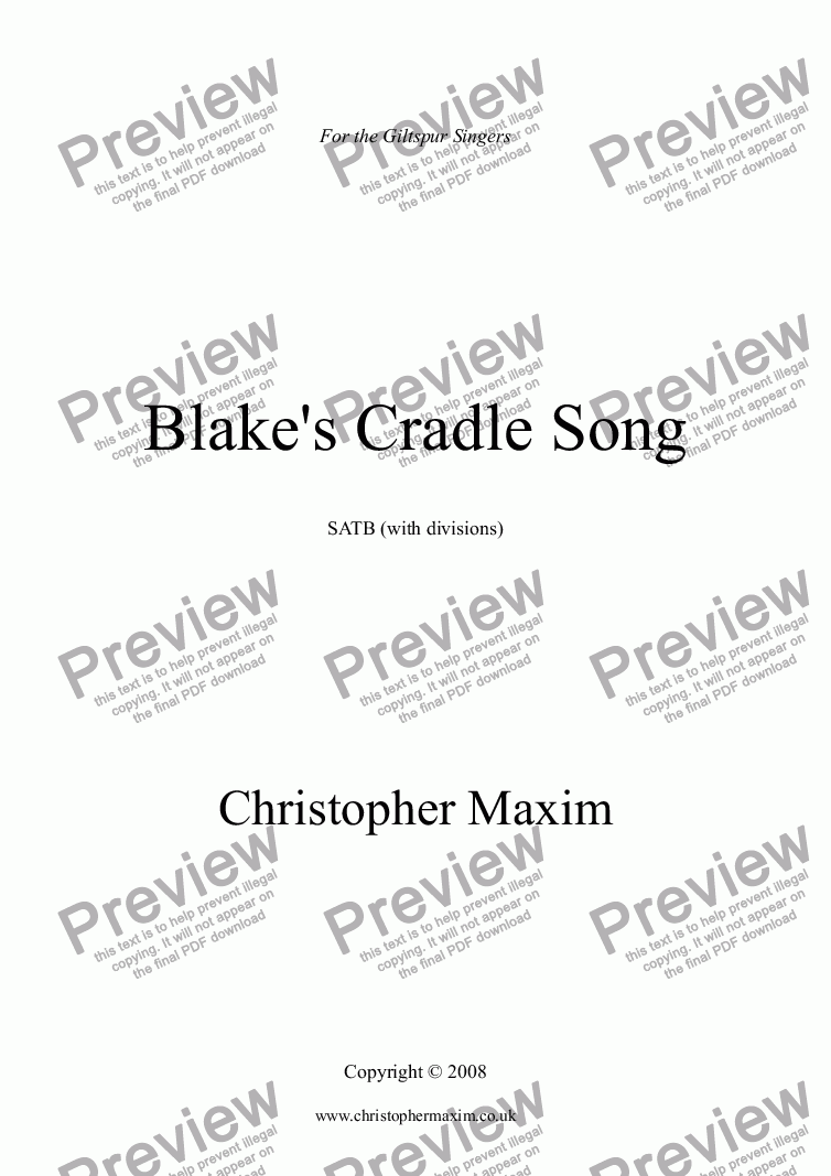 page one of Blake's Cradle Song