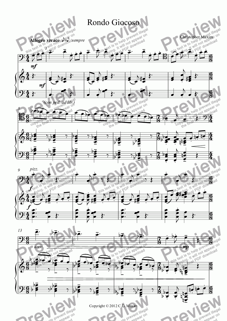 page one of Rondo Giocoso (Double Bass and Piano)