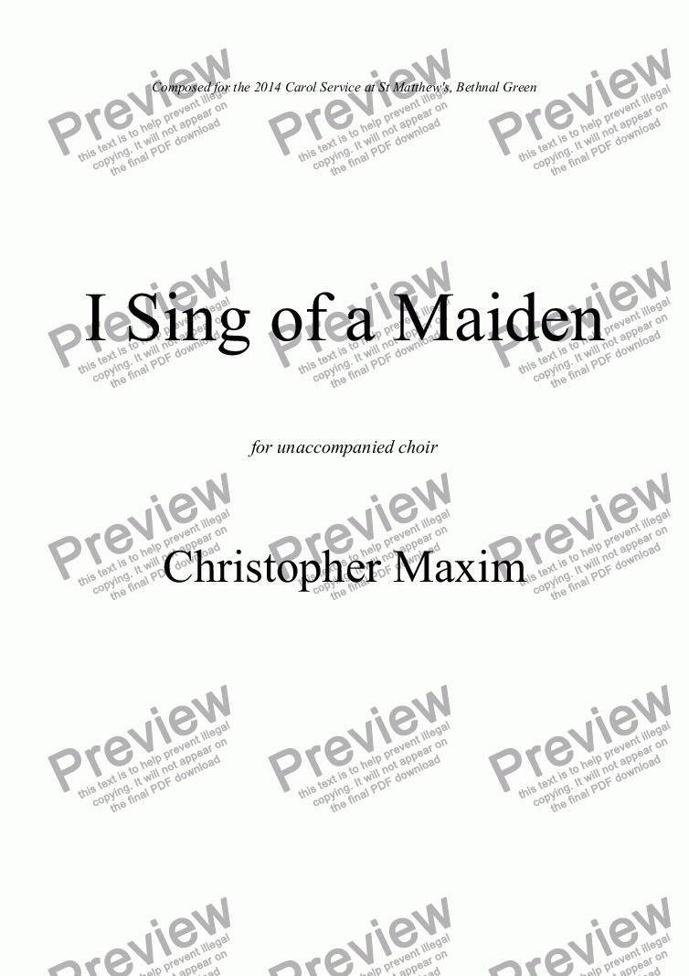 page one of I Sing of a Maiden
