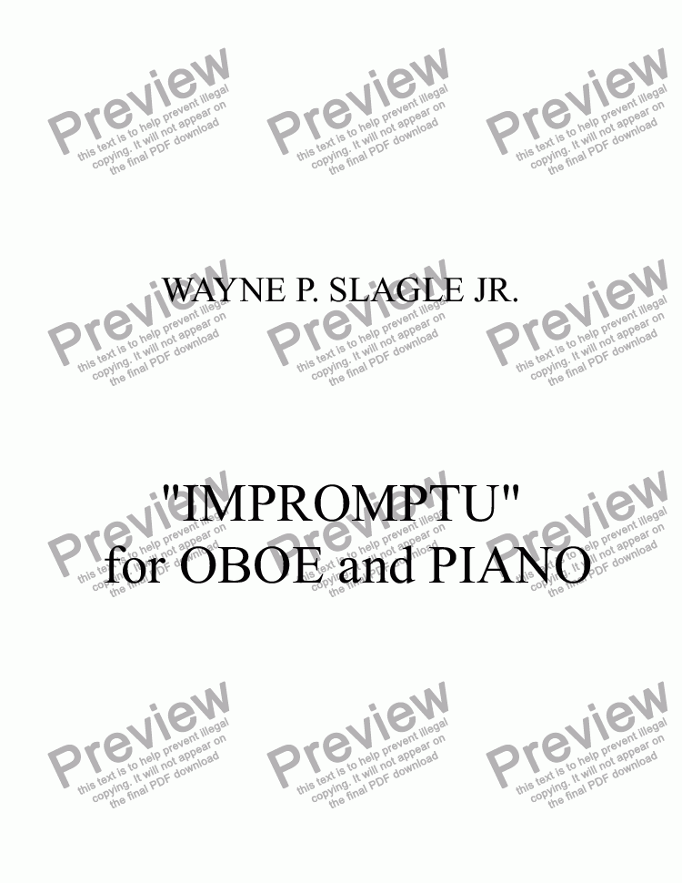 "page one of ""IMPROMPTU""  for OBOE and PIANO"