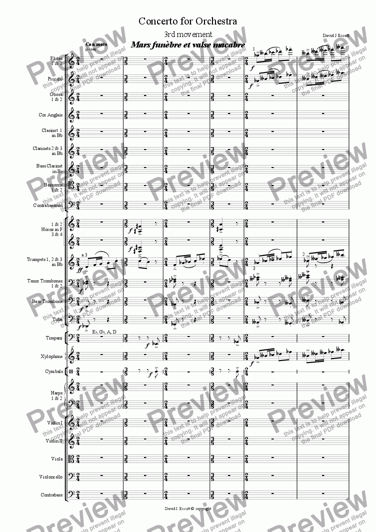 page one of Concerto for Orchestra. 3rd movement