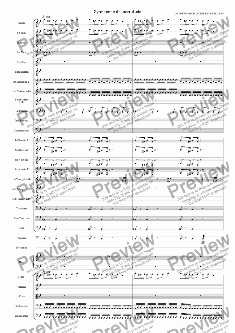 page one of Symphonie D'incertitude