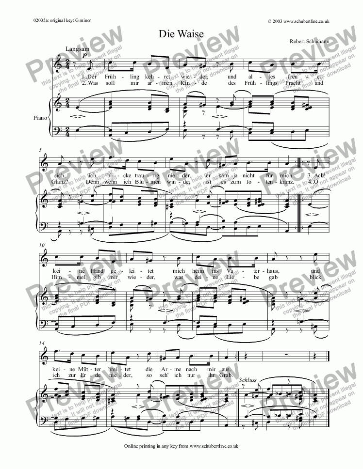 page one of Die Waise Op.79 no.14