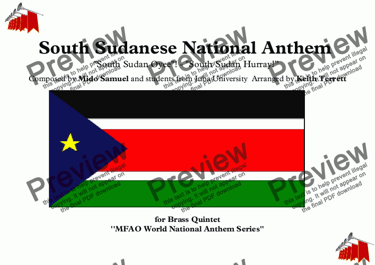 "page one of South Sudanese National Anthem ''South Sudan Oyee''! - ''South Sudan Hurray!"" for Brass Quintet (MFAO World National Anthem Series)ASALTTEXT"