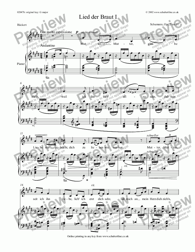 page one of Lied der Braut I  Op.25 no.11