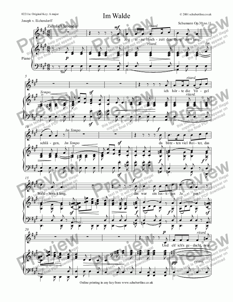 page one of Im Walde  Op.39 no.11
