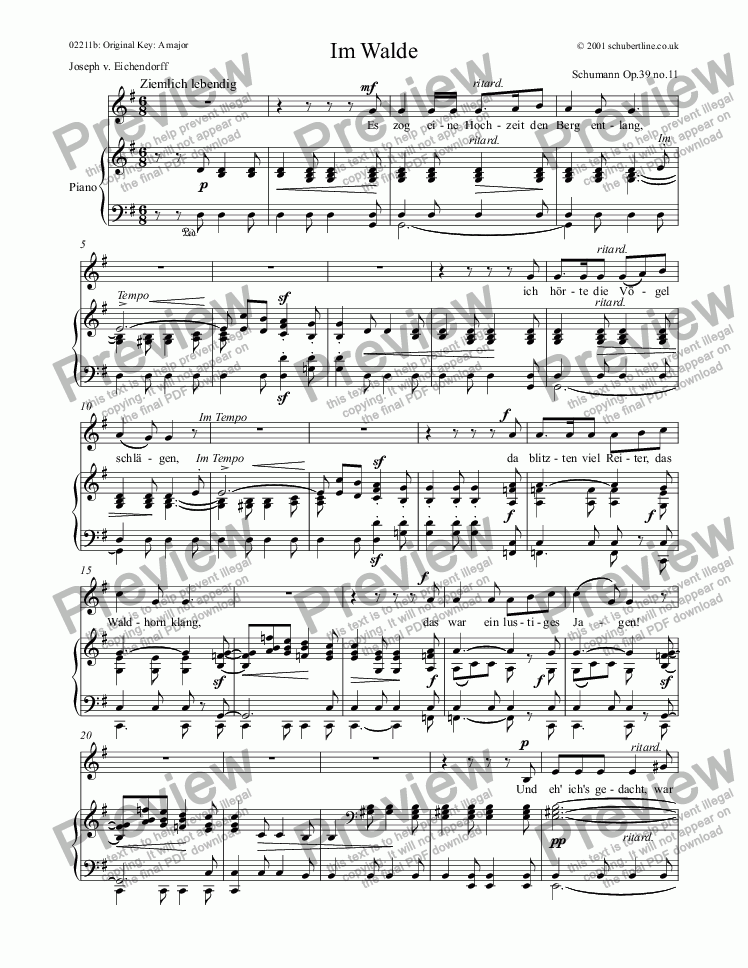 page one of Im Walde  Op.39 no.11ASALTTEXT