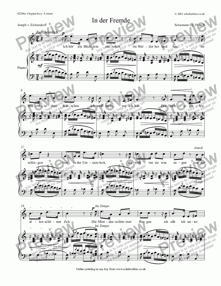 page one of In der Fremde  Op.39 no.8