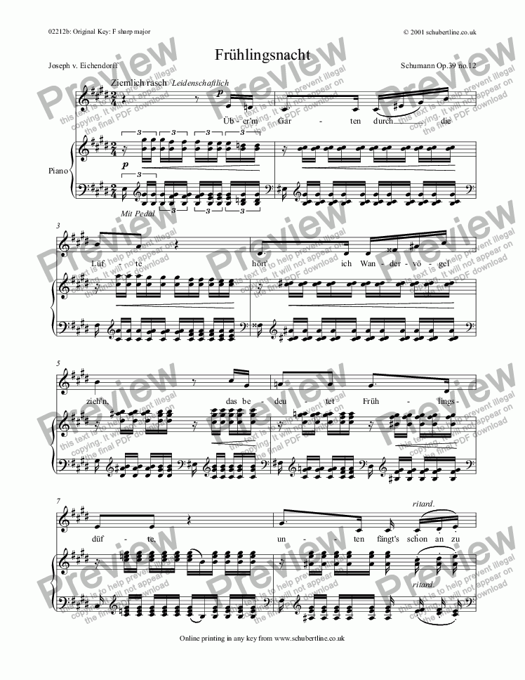 page one of Frühlingsnacht  Op.39 no.12