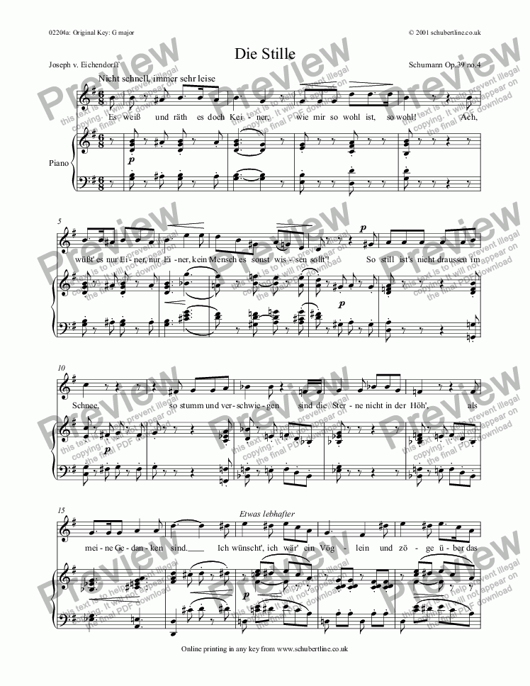 page one of Die Stille Op.39 no.4