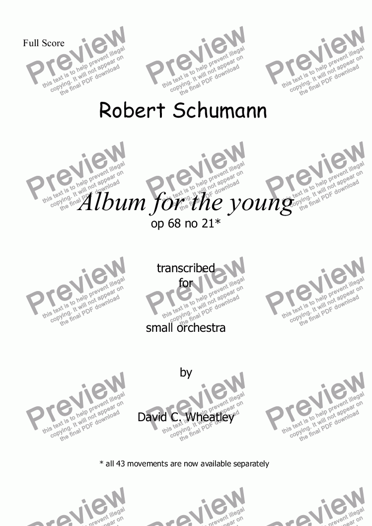 page one of Schumann Album for the young op 68 no 21 for small orchestra