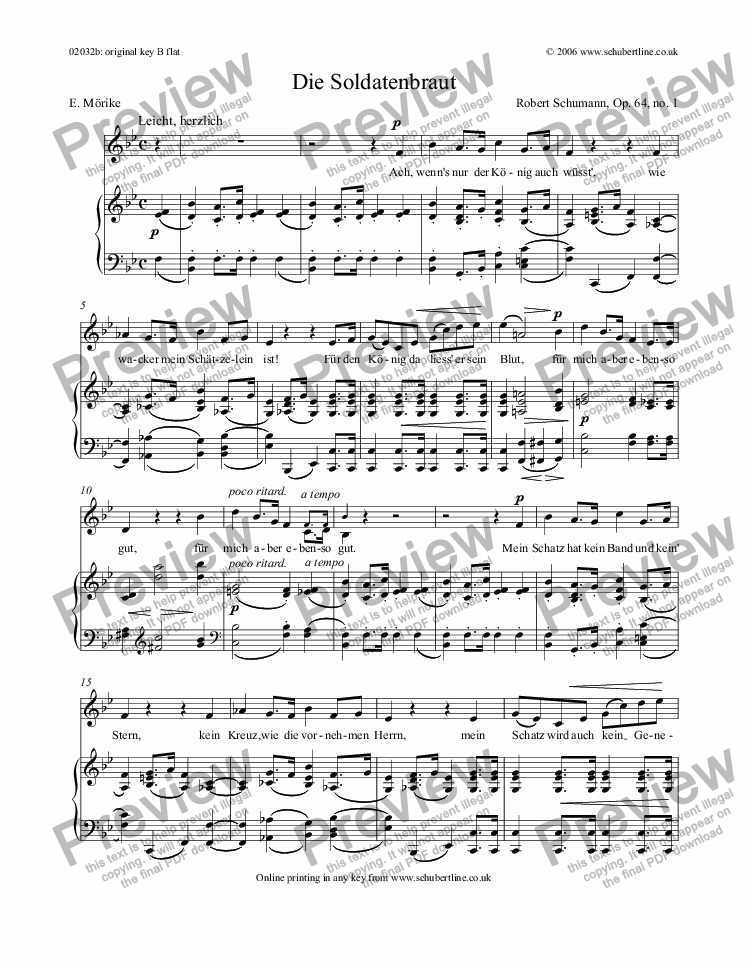 page one of Die Soldatenbraut  Op.64 no.1