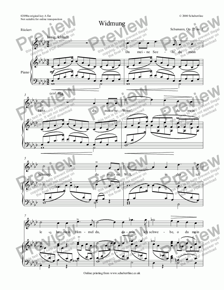page one of Widmung  Op. 25 no. 1
