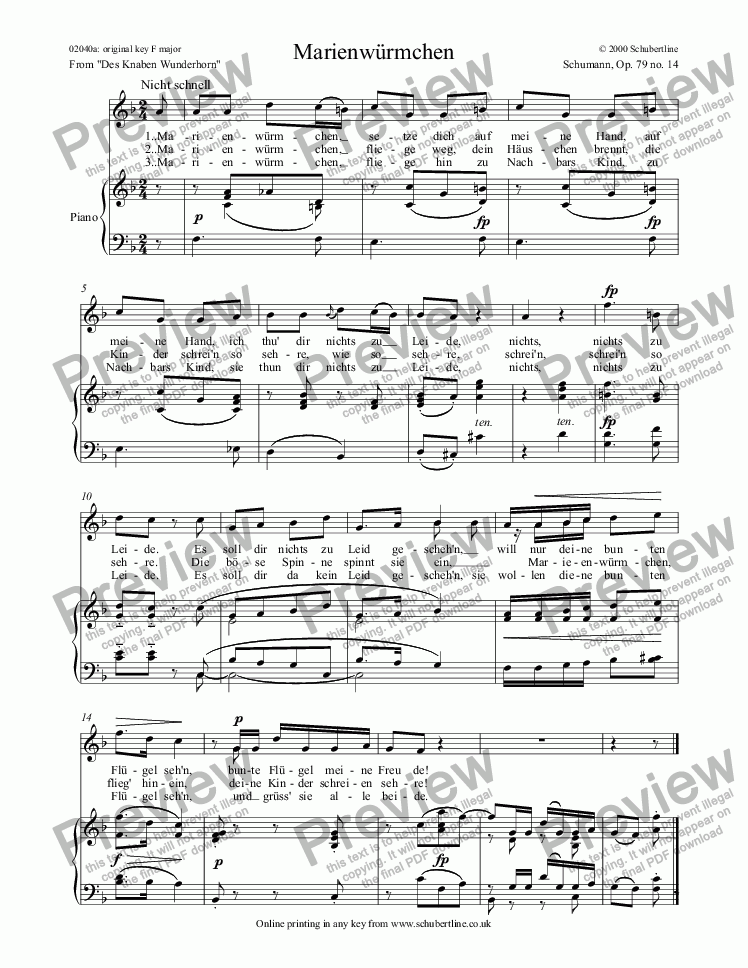 page one of Marienwürmchen  Op. 79 no. 14