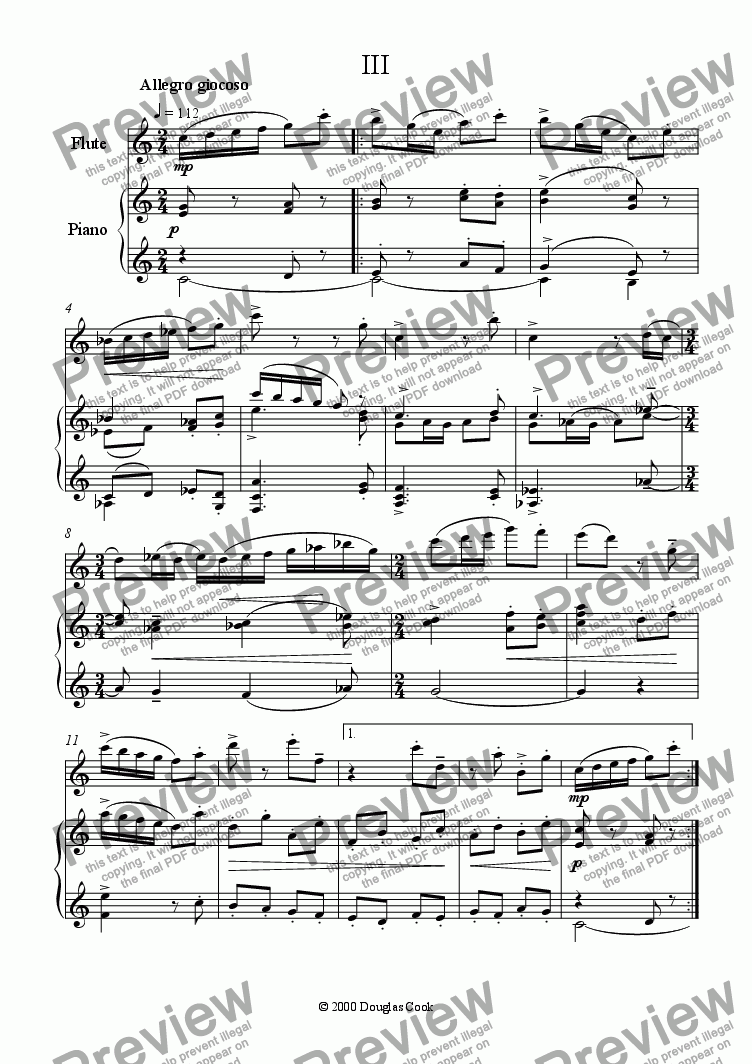 page one of Flute Sonata - 3rd Movement