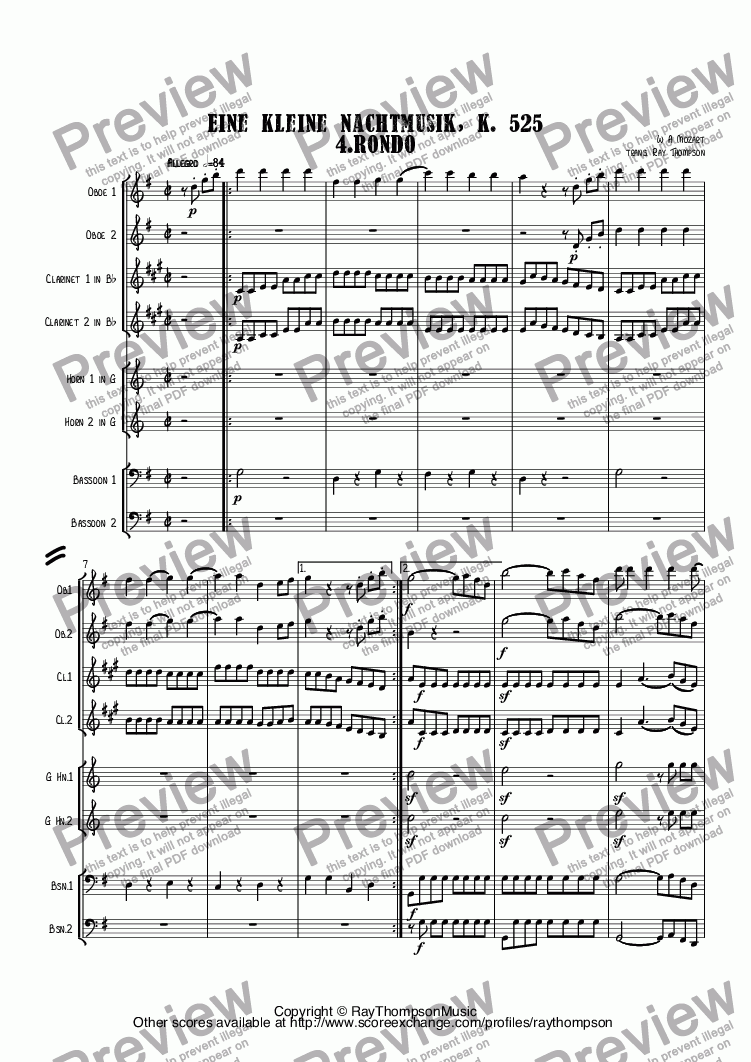 "page one of Mozart: Serenade no 13 in G ""Eine Kleine Nachtmusik"" K. 525 4.Rondo arr wind octet (2 ob,2 cl, 2 hn, 2 bsn)"