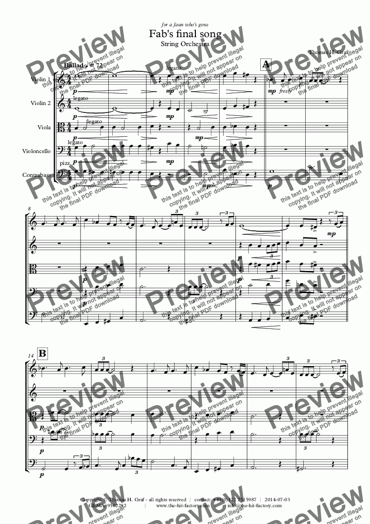 page one of Fabs final song - Ballad - Jazz - String OrchestraASALTTEXT