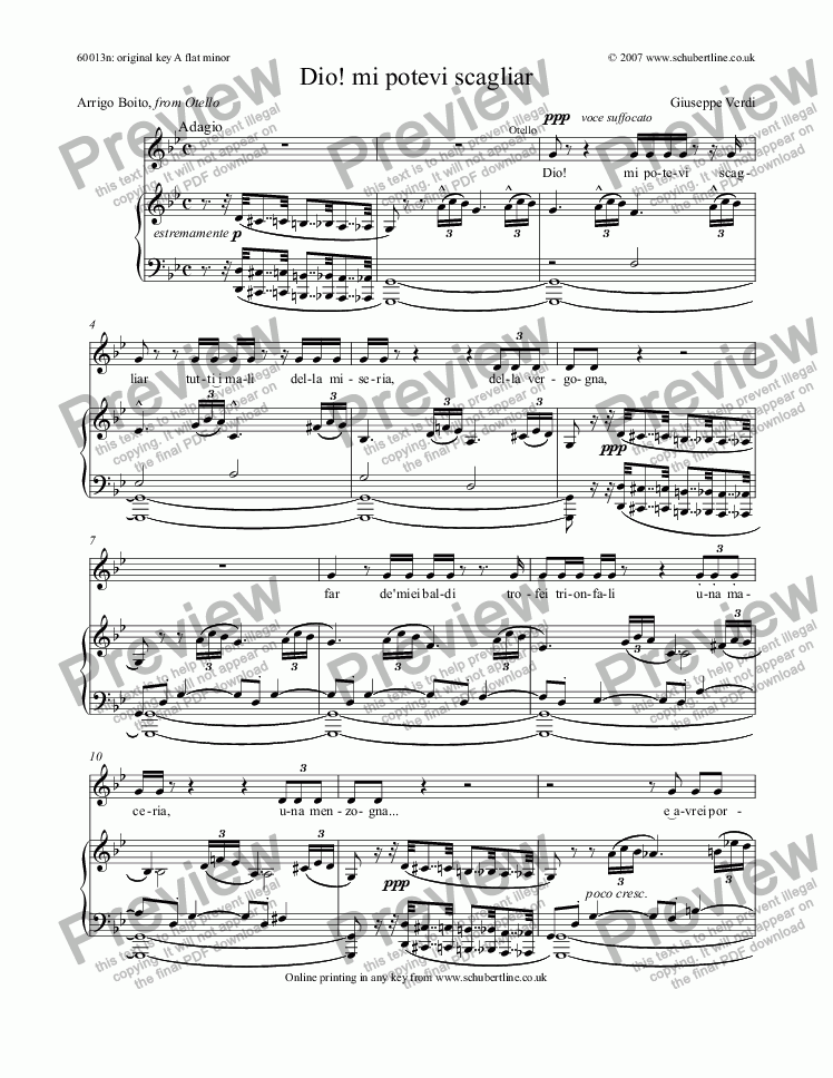 page one of Dio! mi potevi scagliar [Otello: tenor]