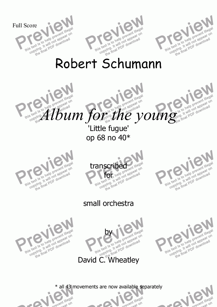 page one of Schumann Album for the young op 68 no 40 'Little Fugue' for small orchestra