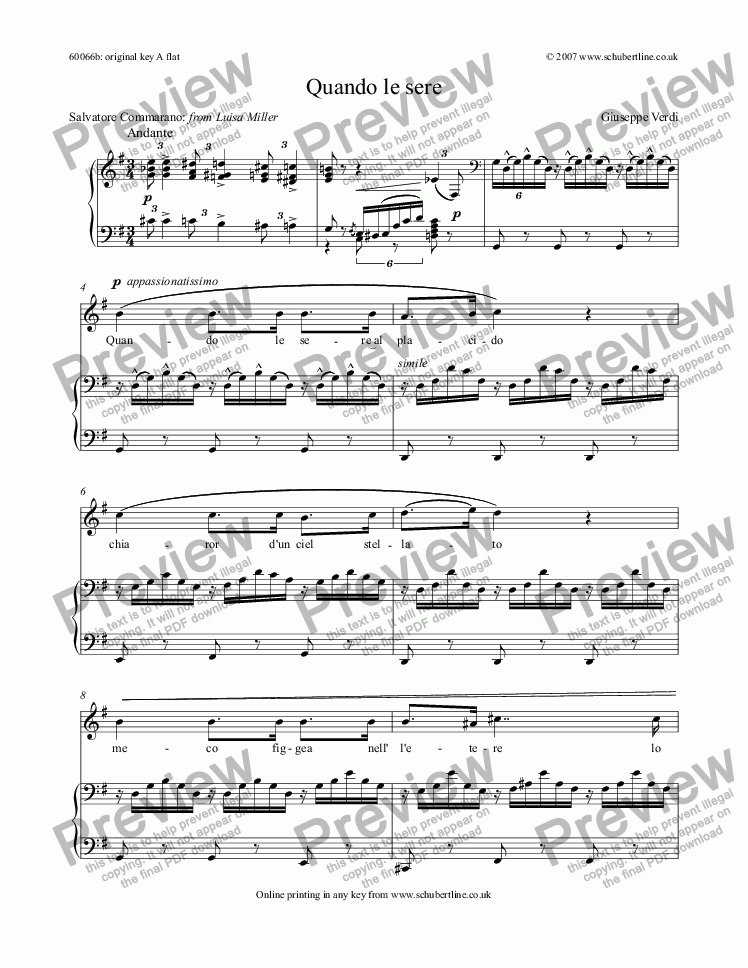 page one of Quando le sere  [Luisa Miller: tenor]