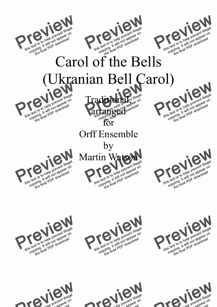 page one of Carol of the Bells (Ukranian Bell Carol) for Orff EnsembleASALTTEXT