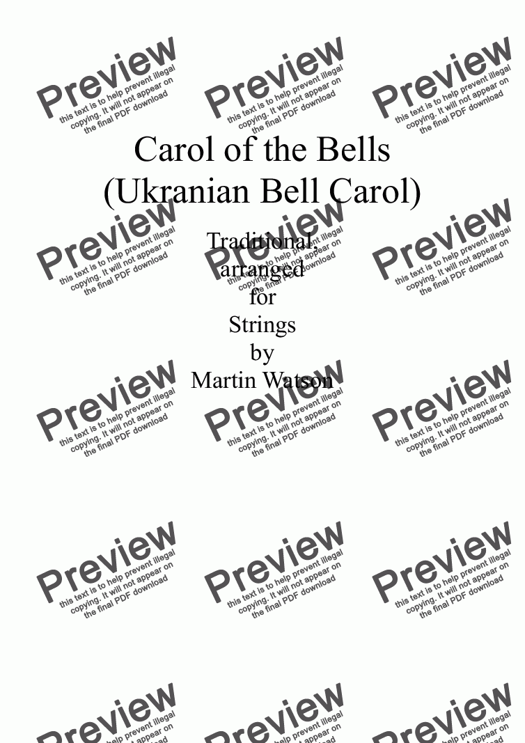 page one of Carol of the Bells (Ukranian Bell Carol) for String Orchestra/String Quartet