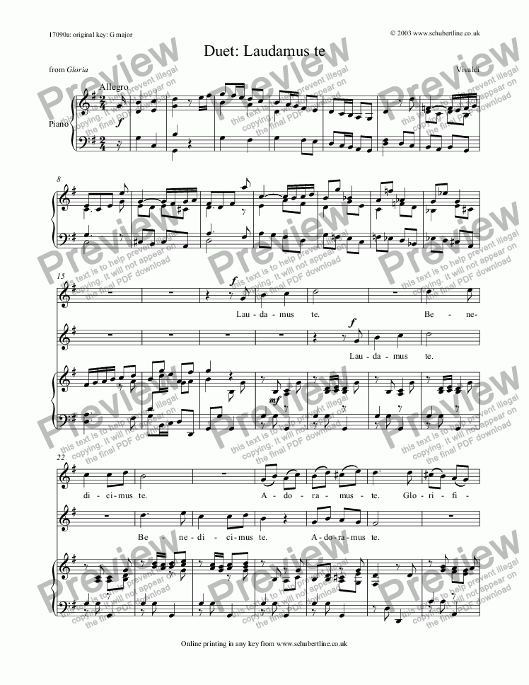 page one of Laudamus te - duet  [Gloria]