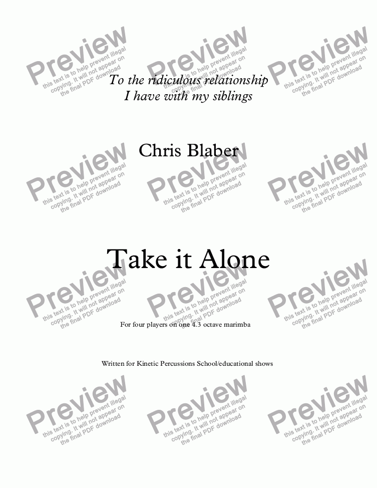 page one of Take it Alone
