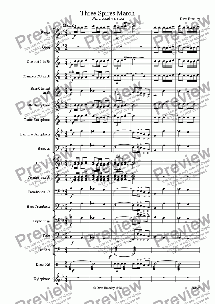 page one of Three Spires March (Wind Band)ASALTTEXT