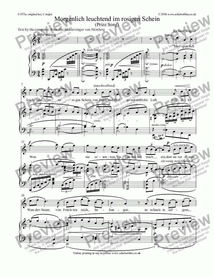 page one of Morgenlich leuchtend (Prize Song) [Meistersinger: tenor]