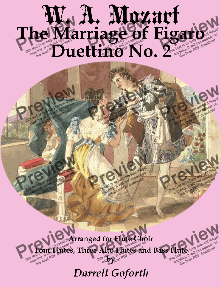page one of The Marriage of Figaro for Flute Choir 4 Duettino No. 2