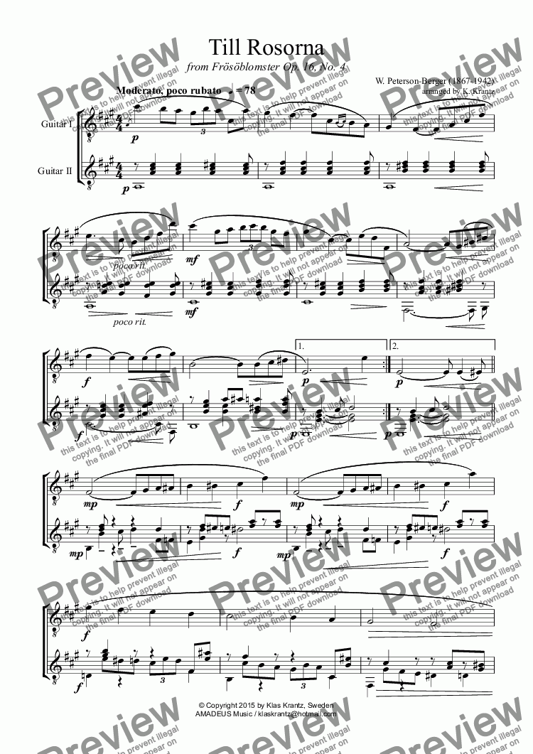 page one of Till Rosorna for guitar duo