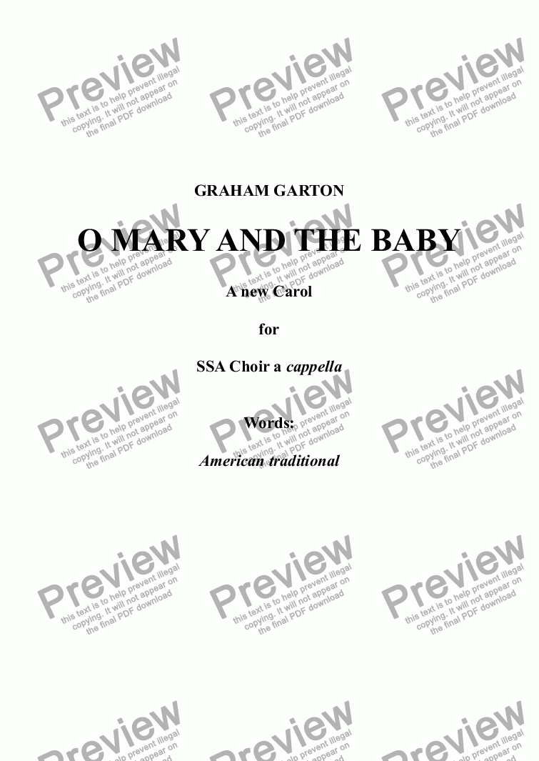 page one of CAROL - 'O MARY AND THE BABY' A new simple Carol for SSA Choir a cappella