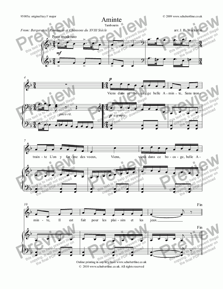 page one of Aminte Tambourin